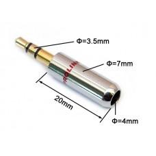 Вилка 3.5 мм стерео  хром/черный на кабель