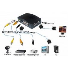 Конвертер BNC/SVHS a/v in  -> VGA out